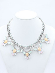 Women's Statement Necklaces Flower Acrylic Alloy Floral Fashion Costume Jewelry Jewelry For Daily Casual