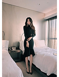 Women's Casual/Daily Simple Bodycon Trumpet/Mermaid Dress,Solid Round Neck Knee-length Long Sleeve Black Gray Cotton Fall Winter Low Rise