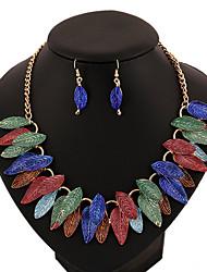 Бижутерия 1 ожерелье 1 пара сережек Свадьба Для вечеринок Повседневные Сплав 1 комплект Женский Красный серый Синий Разные цветаСвадебные