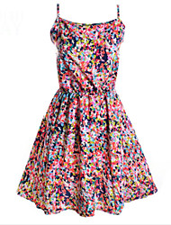 Casual/Daily Cute Loose Skater Dress,Print Flower Strap Knee-length Sleeveless Polyester Multi-color Summer High Rise Micro-elastic
