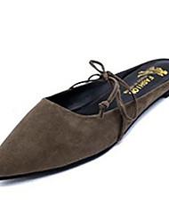 Women's Slippers & Flip-Flops Fall Slippers Fleece Casual Flat Heel Lace-up Black / Gray Others