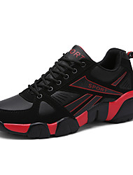 Men's Flats Spring / Summer Comfort Tulle Outdoor / Casual Flat Heel Lace-up Black and Red / Black and White / Navy Sneaker