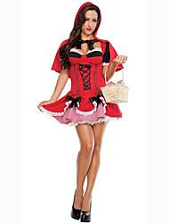 Costumes de Cosplay Costume de Soirée Bal Masqué Princesse Cinderella Cosplay Cosplay de Film Rouge Couleur Pleine Robe ChâleHalloween