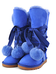 Women's Boots Winter Comfort Fur Casual Flat Heel Pom-pom Yellow / Royal Blue / Burgundy Others