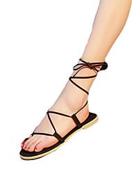 Damen-Sandalen-Lässig-PU-Niedriger Absatz-Komfort-Schwarz Khaki