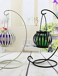 2pc Retro Pumpkin Shape Windproof Metal Candlestick Craft Home Decorative Tea Light Holder Pumpkin Lamp Candelabrum