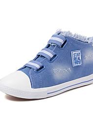 Feminino-Tênis-Conforto-Rasteiro-Preto Azul Azul Claro-Jeans-Casual