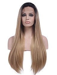 due toni ombre fibra sintetica dei capelli parrucche parrucca anteriore del merletto sintetica resistente capelli lisci lunghi calore