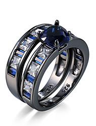 Ringe Kubikzirkonia Normal Schmuck Aleación Damen Ring 2 Stück,6 7 8 9 10 Schwarz