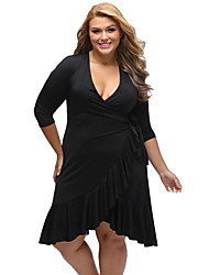 Women's Whimsy Wrap Flounce Plus Size Dress