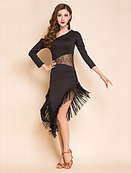Latin Dance Dresses Women's Performance Spandex Milk Fiber Lace Tassel(s) 1 Piece 3/4 Length Sleeve Natural Dress
