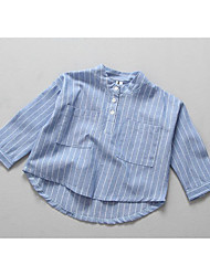 Girl Casual/Daily Striped Blouse,Cotton Spring Fall Long Sleeve Long