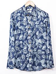 Masculino Camisa Social Casual Simples Primavera Outono,Floral Azul Raiom Colarinho Chinês Manga Longa Média