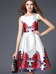 Women's Formal Party/Cocktail Sophisticated A Line Dress,Floral Round Neck Knee-length Sleeveless Polyester White Spring Mid Rise