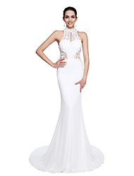 Mermaid / Trumpet High Neck Court Train Jersey Prom Formal Evening Dress with Beading Appliques by TS Couture®