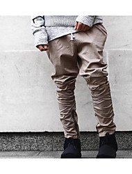 Men's Loose Chinos Pants,Casual/Daily Vintage Solid Low Rise Button Cotton Micro-elastic Spring