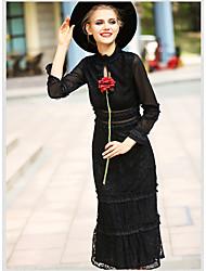 Feminino Tubinho Vestido, Para Noite Vintage Sólido Colarinho Chinês Médio Manga Longa Preto Algodão Poliéster Fibra SintéticaPrimavera