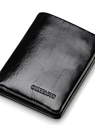 Contacts Genuine Wax Leather Short Bifold Wallet Black Sports Casual Outdoor Office & Career Shopping-Wallet-Cowhide-Men