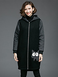 Women's Going out Casual/Daily Holiday Simple Coat,Print Hooded Long Sleeve Spring Fall Black Wool Medium