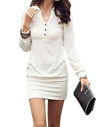 Bainha Vestido,Casual Sólido Colarinho de Camisa Acima do Joelho Branco / Preto Algodão / Outros Todas as Estações Sem Elasticidade Média