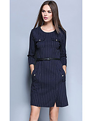 Women's Going out Sophisticated Sheath Dress,Striped Round Neck Above Knee ¾ Sleeve Cotton Blue Spring Fall Mid Rise Inelastic
