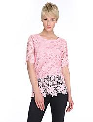 Женский На каждый день Лето Блуза Круглый вырез,Уличный стиль Однотонный Розовый / Белый / Серый С короткими рукавами,Хлопок / Полиэстер,