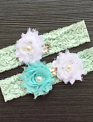 Garter Stretch Satin Lace Lace Green