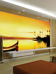 JAMMORY Art DecoWallpaper For Home Wall Covering Canvas Adhesive required Mural Sunset Scenery XL XXL XXXL