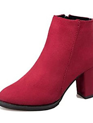 Women's Boots Spring Winter PU Casual Low Heel Black Red