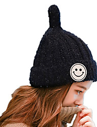 Winter New Fashion Smiley Sharp Plus Velvet Thicken Single Hat Lady Ear Knitting Wool Hat