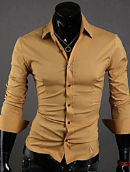Men's Solid Casual / Work / Formal Shirt,Polyester Long Sleeve Black / Blue / Brown / Pink / Purple / Red / White / Gray / Tan