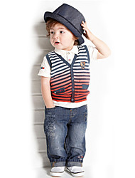 Boy's Cotton Fashion Spring/Summer/Fall Going out Casual/Daily Stripe Vest Coat & Short Sleeve Shirt & Jeans Pants Three-piece Set