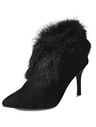 Women's Boots Fall Winter Other Fleece Office & Career Casual Low Heel Feather Black Red
