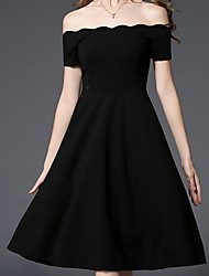 Women's Formal Party/Cocktail Sexy Sophisticated A Line Dress,Solid Jacquard Backless Boat Neck Midi Short Sleeve Polyester Black Spring