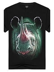 Herren Tierfell-Druck Einfach Street Schick Punk & Gothic Ausgehen Lässig/Alltäglich Urlaub T-shirt,Rundhalsausschnitt Kurzarm Schwarz