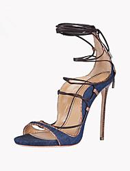 Feminino-Sandálias-Outro Tira no Tornozelo-Salto Agulha-Azul-Jeans-Escritório & Trabalho Social Casual Festas & Noite