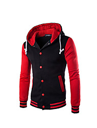 Men's Regular Padded Coat,Street chic Casual/Daily Solid-Cotton Cotton Long Sleeve V Neck Blue Red White Gray