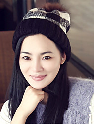 Fashion New Winter Knitted Hat Cap Sleeve Plaid Wool Hat Children Warm Earmuffs
