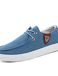 Men's Sneakers Spring Summer Fall Winter Comfort Canvas Office & Career Casual Flat Heel Lace-up Black Light Blue Dark Blue