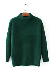 Damen Standard Pullover-Ausgehen Lässig/Alltäglich Einfach Street Schick Solide Schwarz Rundhalsausschnitt LangarmKunst-Pelz Polyester