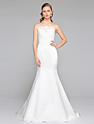 2017 Lanting Bride® Trumpet / Mermaid Wedding Dress - Elegant & Luxurious Open Back Court Train Spaghetti Straps Lace Satin with Button