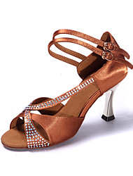 Women's Sandals Summer Other Satin Dress Stiletto Heel Sparkling Glitter Buckle Black Light Brown Fitness & Cross Training