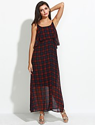 Women's Boho Casual/Daily Street chic Loose DressPlaid Strap Maxi Sleeveless Red Polyester Summer Mid Rise