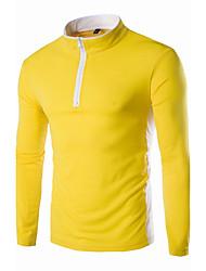 T-shirt Da uomo Casual Semplice Primavera Autunno,Tinta unita Rotonda Cotone Rosso Nero Dorato Manica lunga Medio spessore