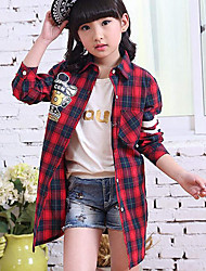 The Spring And Autumn Period And The Plaid Letters Printing Long-sleeved Shirt Of The Girls