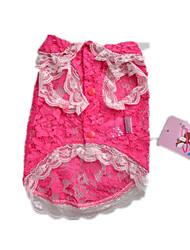 Dog Shirt / T-Shirt Pink Dog Clothes Summer Lace Cute