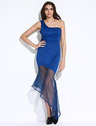Gaine Robe Femme Soirée / Cocktail Sexy / Sophistiqué,Couleur Pleine Une Epaule Midi Sans Manches Bleu / Rouge Polyester / Spandex Eté