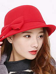 Fashion New Autumn And Winter Women Curling Big Bow Wool Woolen Woolen Bowl Cap Wool Hat