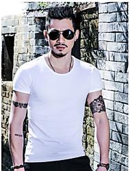 Tee-shirt Hommes,Couleur Pleine Décontracté / Quotidien Chic de Rue Eté Manches Courtes Col Arrondi Bleu Blanc NoirFibre de bambou
