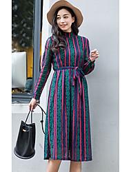 Feminino balanço Vestido, Para Noite Casual Moda de Rua Retalhos Decote Redondo Altura dos Joelhos Manga Longa Azul AlgodãoPrimavera